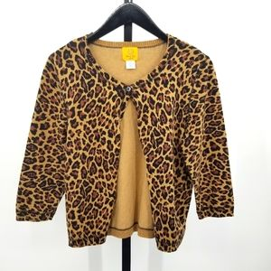 Ruby Rd. Petite Cardigan Leopard Print Button Up